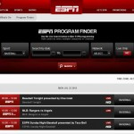 Screenshot of the ESPN program finder page