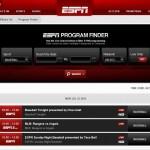 Screenshot of the ESPN program finder page