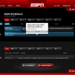 Screenshot of the ESPN quickview schedule page
