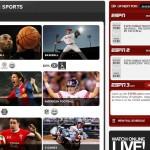 Screenshot of the ESPN up next schedule widget